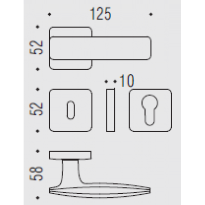 Дверная ручка Colombo BOLD PT11R хром матовый