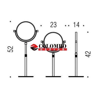 Косметическое зеркало COLOMBO DESIGN SPECCHI INGRANDITORI B9752 настольное увеличение 3 раза регулируемое по высоте