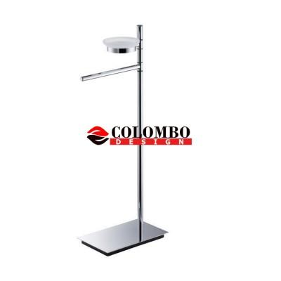 Стойка COLOMBO DESIGN SQUARE B9902 напольная с полотенцедержателем с мыльницей