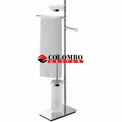 Стойка COLOMBO DESIGN SQUARE B9903 напольная с полотенцедержателем с мыльницей с держателем туалетной бумаги и с ершиком