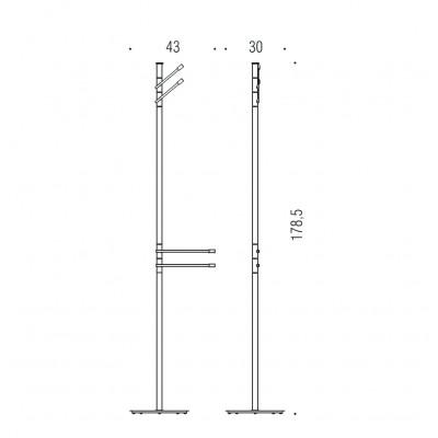 Стойка COLOMBO DESIGN ISOLE B9412N напольная с 2 полотенцедержателями с 2 крючками