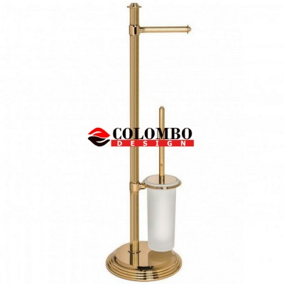 Стойка COLOMBO DESIGN HERMITAGE B3318.GOLD напольная с держателем туалетной бумаги и ершиком