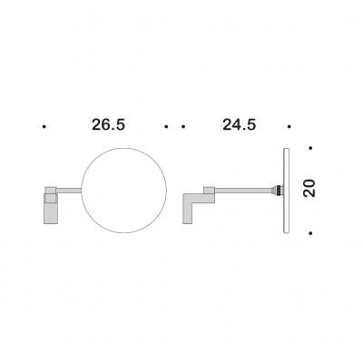 Косметическое зеркало COLOMBO DESIGN LUNA B0125 без подсветки настенной